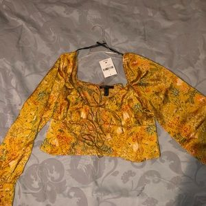 Forever 21 satin tie front blouse